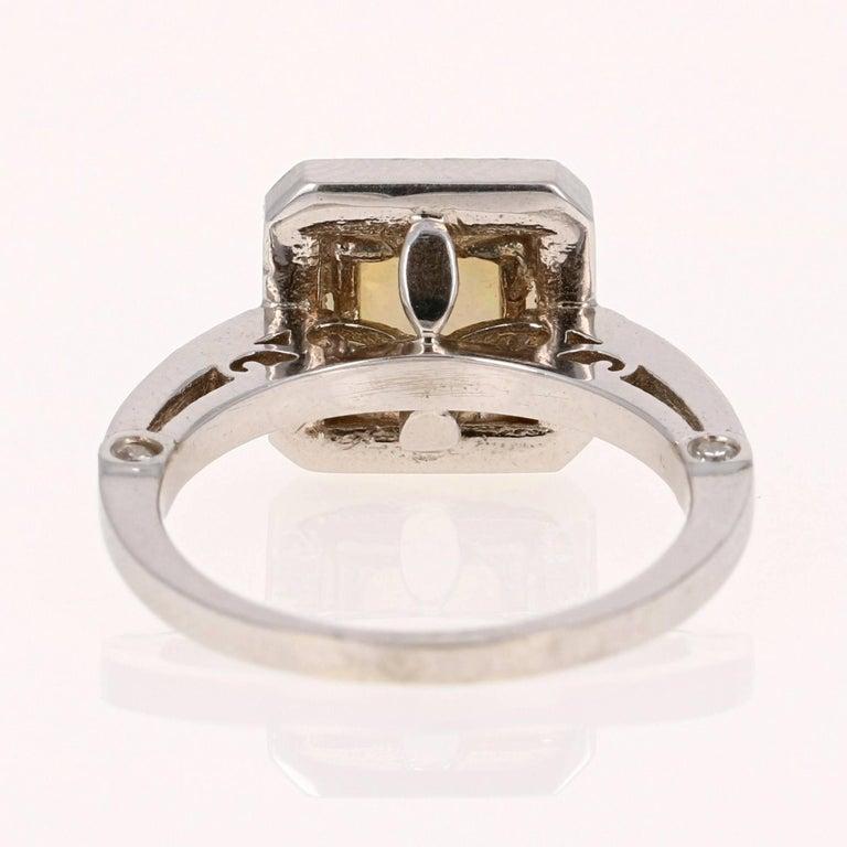 Modern 1.32 Carat Opal Diamond White Gold Ring For Sale