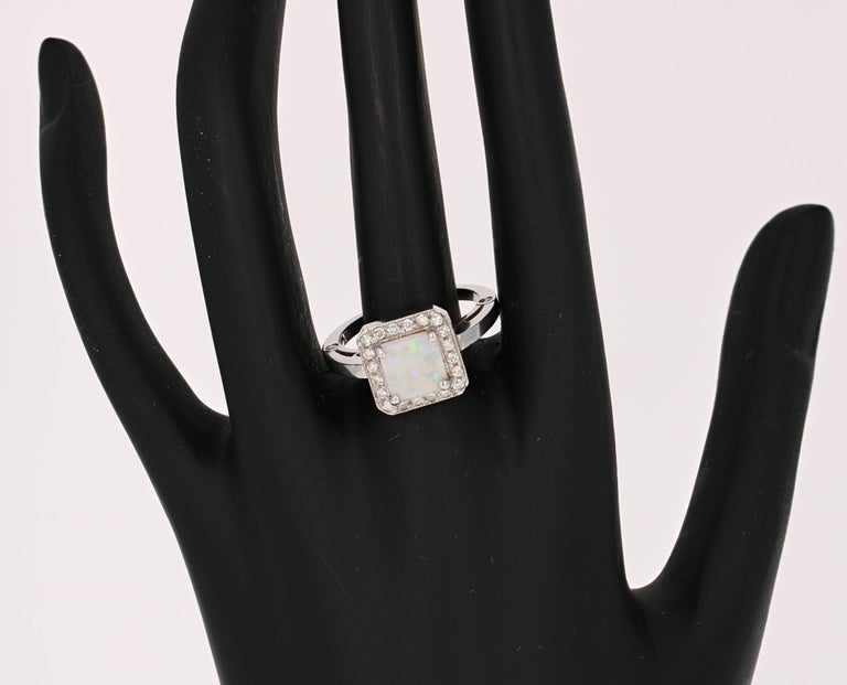 1.32 Carat Opal Diamond White Gold Ring In New Condition For Sale In San Dimas, CA