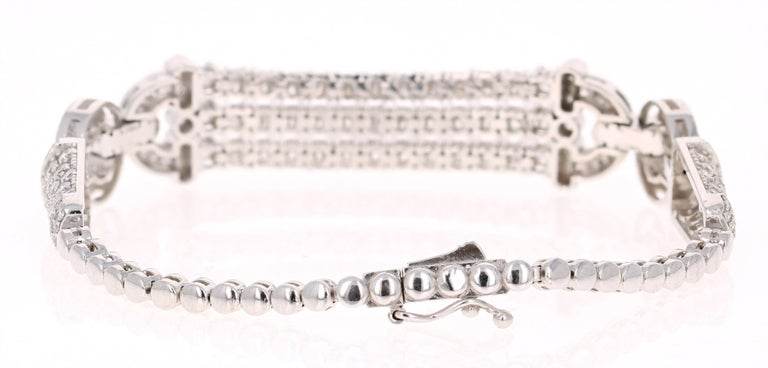 Round Cut 3.91 Carat Diamond White Gold Art Deco Bracelet For Sale