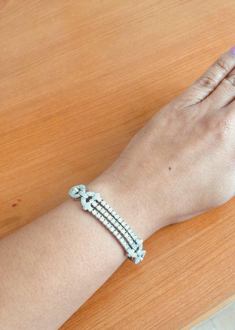 Women's 3.91 Carat Diamond White Gold Art Deco Bracelet For Sale