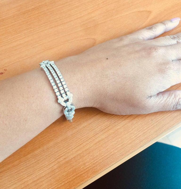 3.91 Carat Diamond White Gold Art Deco Bracelet For Sale 1