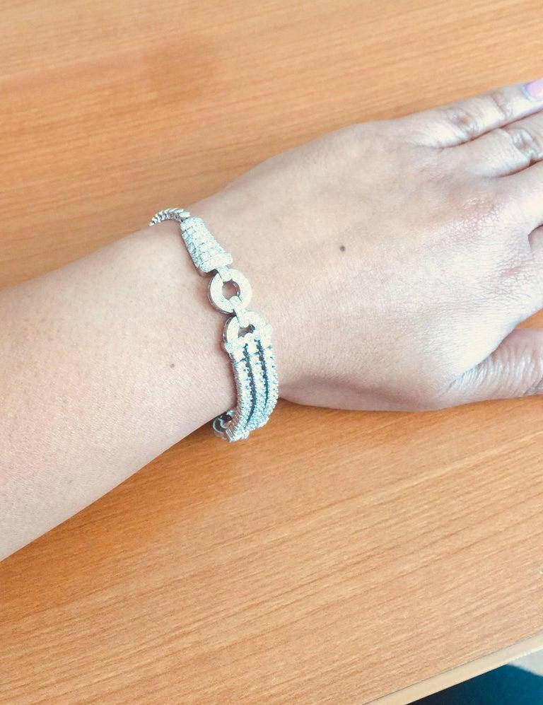 3.91 Carat Diamond White Gold Art Deco Bracelet For Sale 2
