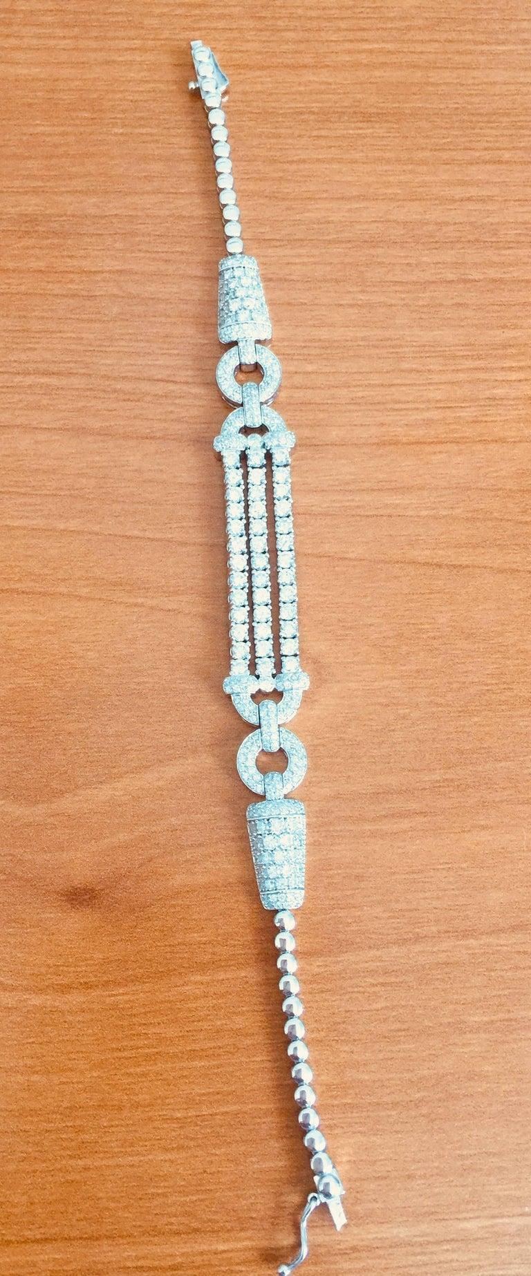 3.91 Carat Diamond White Gold Art Deco Bracelet For Sale 3