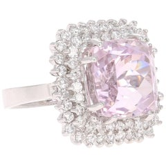 15.62 Carat Kunzite Diamond White Gold Cocktail Ring