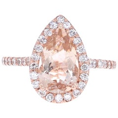 2.70 Carat Morganite Diamond Rose Gold Ring