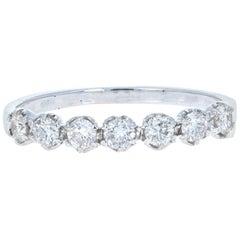 0.44 Carat Round Cut Diamond White Gold Band