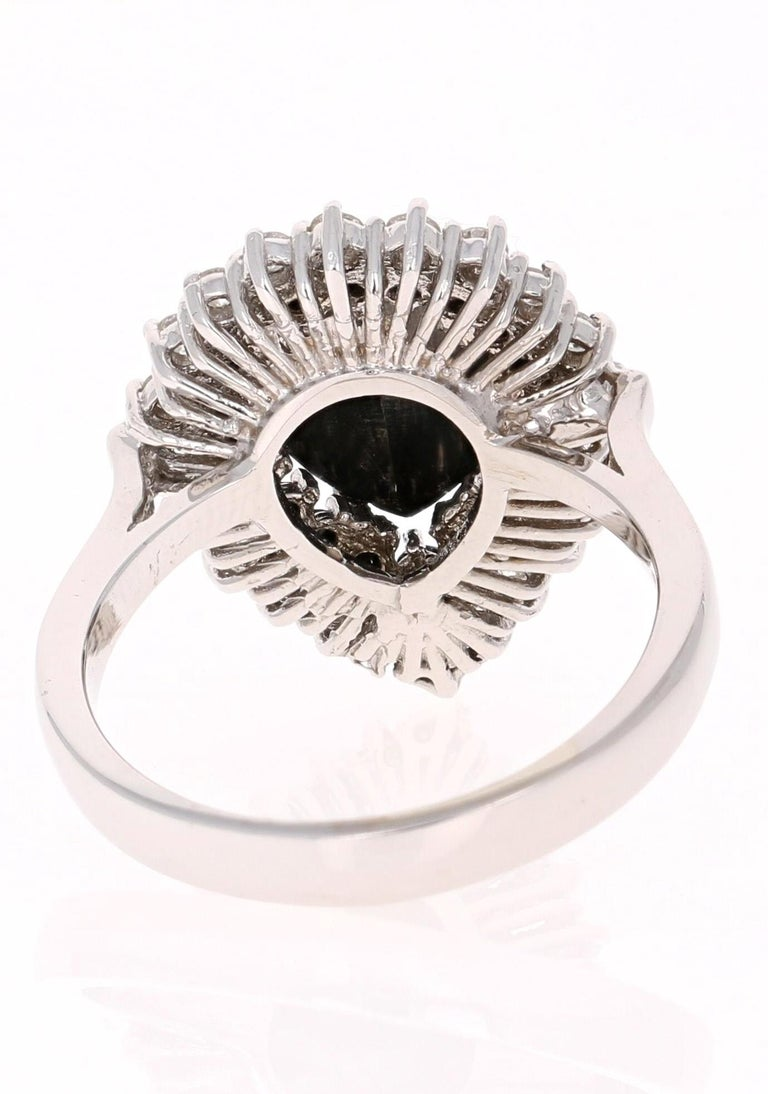 Modern 2.61 Carat Pear Cut Black Diamond White Gold Bridal Ring For Sale