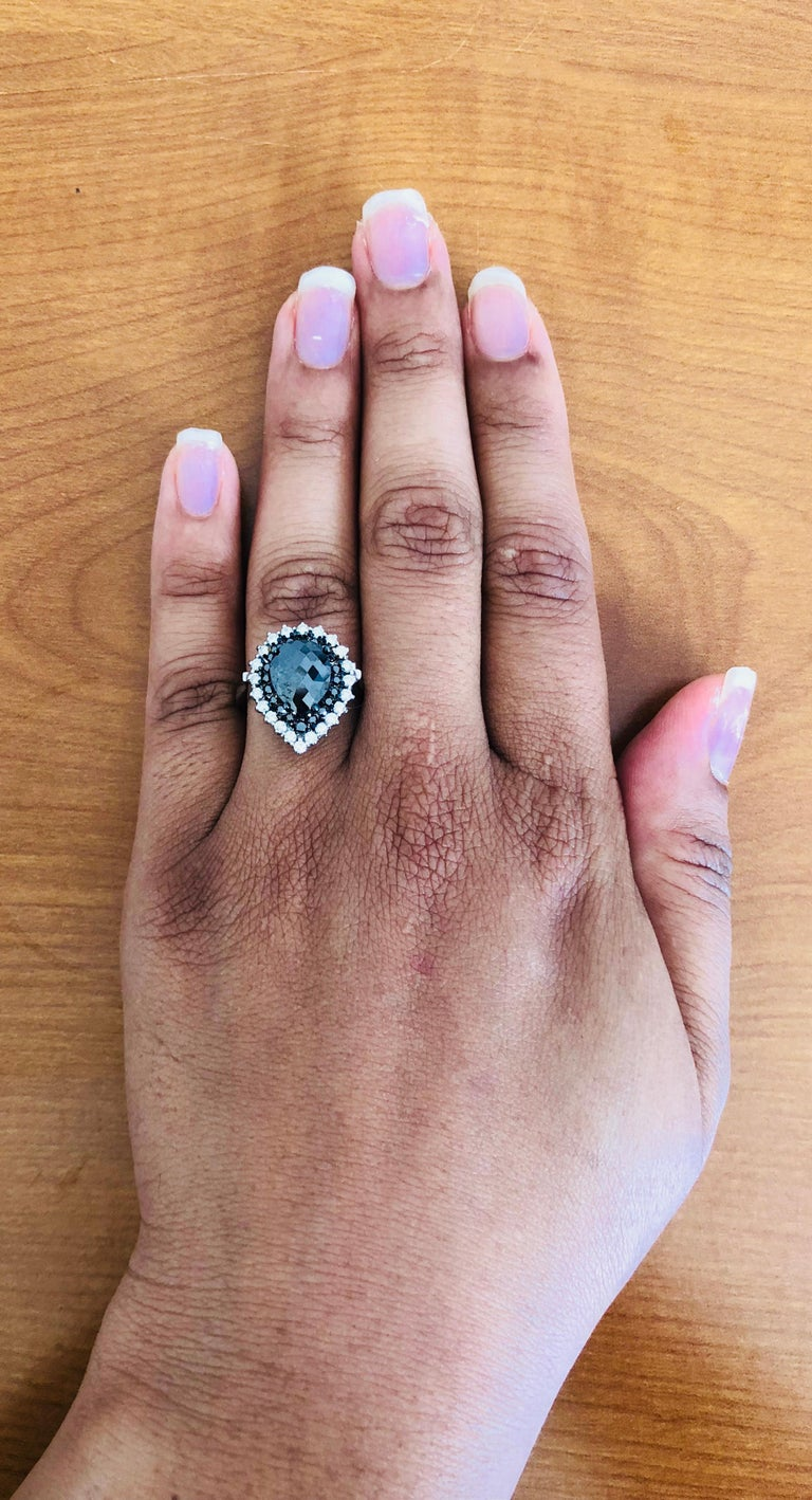 2.61 Carat Pear Cut Black Diamond White Gold Bridal Ring In New Condition For Sale In San Dimas, CA