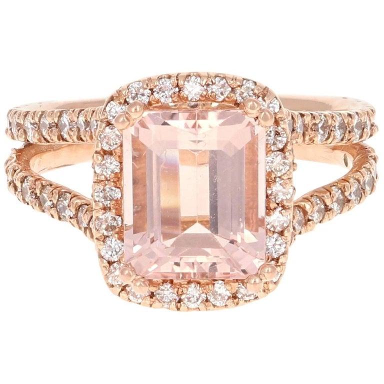 3.94 Carat Morganite Diamond Rose Gold Engagement Ring