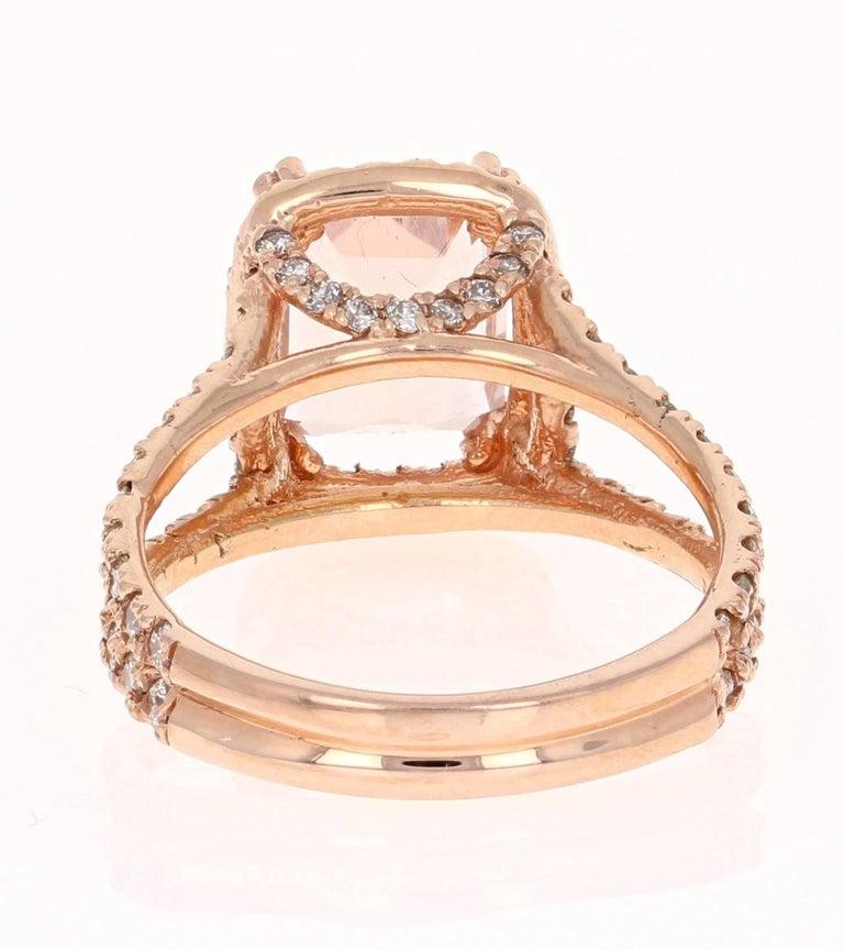 Modern 3.94 Carat Morganite Diamond Rose Gold Engagement Ring