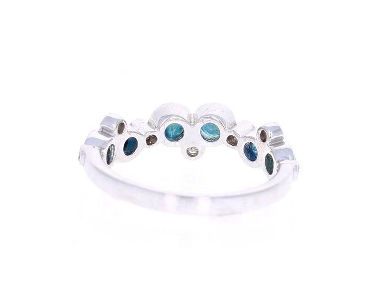 Round Cut 1.23 Carat Sapphire Diamond 14K White Gold Band For Sale
