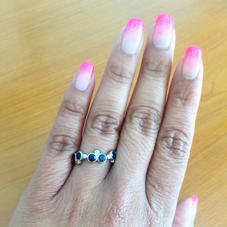 1.23 Carat Sapphire Diamond 14K White Gold Band In New Condition For Sale In San Dimas, CA