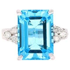 9.00 Carat Blue Topaz Diamond White Gold Cocktail Ring
