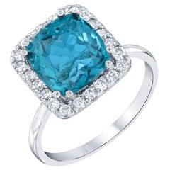 4.12 Carat Apatite Diamond 14 Karat White Gold Engagement Ring