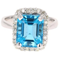 6.22 Carat White Gold Blue Topaz Diamond Ring