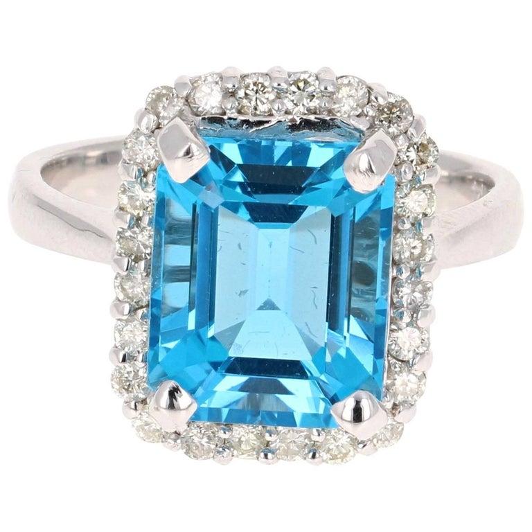 6.22 Carat White Gold Blue Topaz Diamond Cocktail Ring