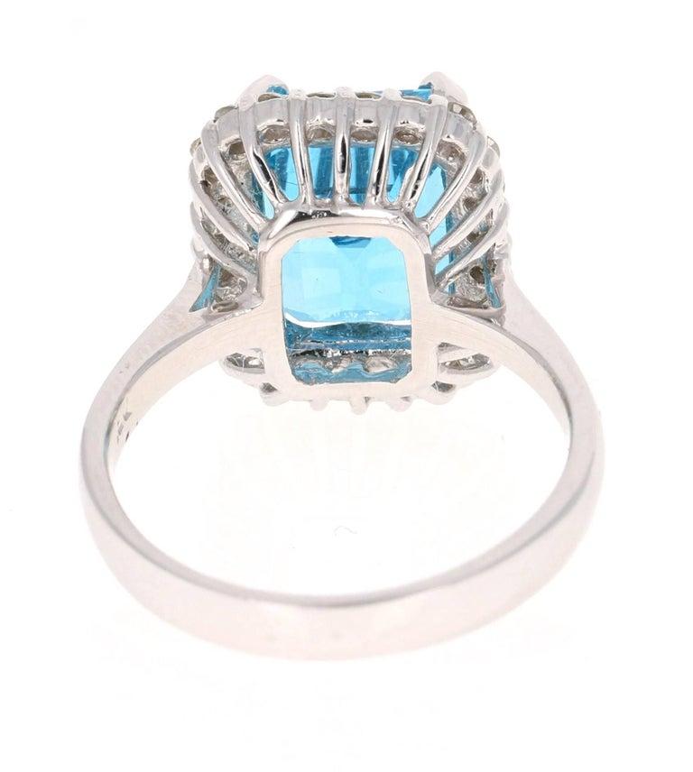 Modern 6.22 Carat White Gold Blue Topaz Diamond Cocktail Ring