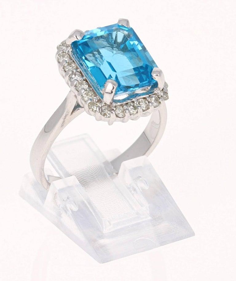 Emerald Cut 6.22 Carat White Gold Blue Topaz Diamond Cocktail Ring