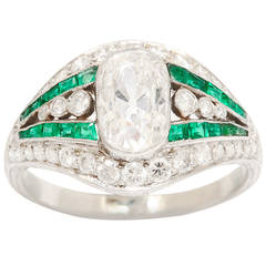 Edwardian Diamond Calibre Emerald Ring