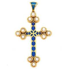 Renaissance Revival Plique-à-Jour Enamel Moonstone Gold Cross Pendant