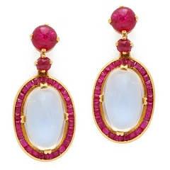 Victorian Moonstone Ruby Gold Drop Earrings