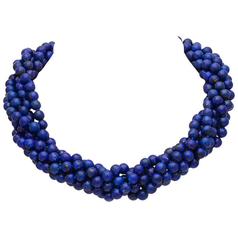Lapis Lazuli Twisted Bead Necklace At 1stdibs
