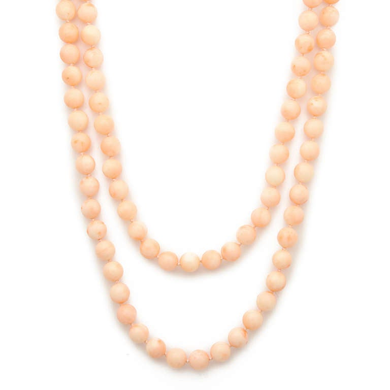 skin coral bead necklace at 1stdibs