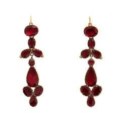 Victorian Garnet Pendant Earrings