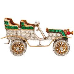 Antique Diamond and Emerald Car Brooch