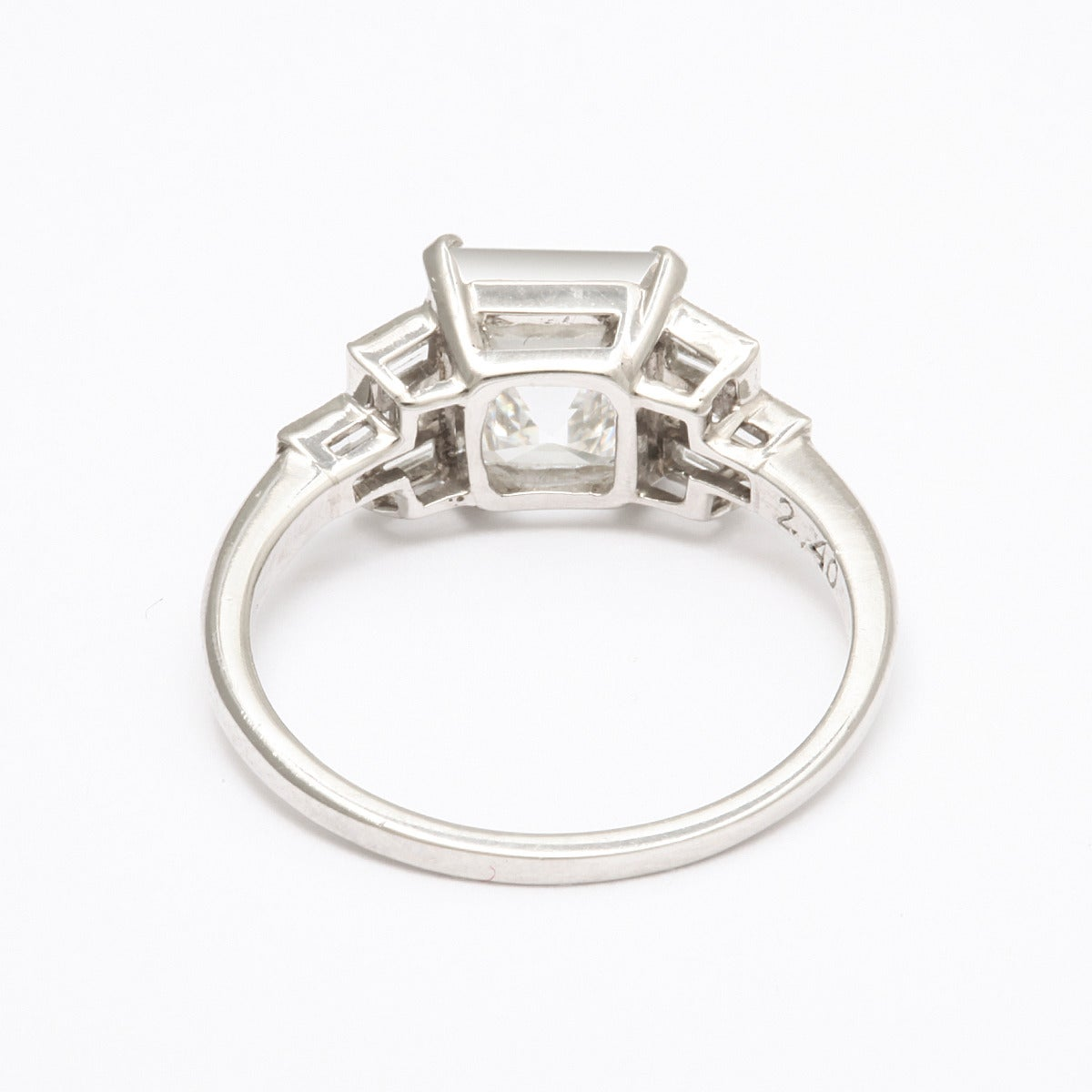 deco asscher cut cert platinum engagement ring for sale at 1stdibs