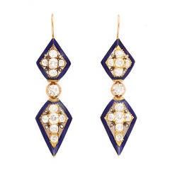 Victorian Diamond and Enamel Pendant Earrings