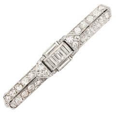 Cartier Paris Art Deco Diamond Platinum Scarf Pin