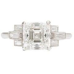Art Deco Asscher Cut GIA Cert Diamond Platinum Engagement Ring