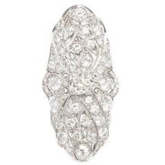 Edwardian Diamond Platinum Navette Dinner Ring
