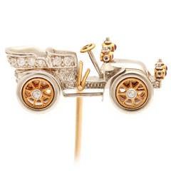 Antique Tiffany & Co. Diamond Gold Platinum Car Tiepin