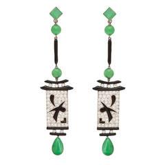 Art Deco Jade Pendant Earrings