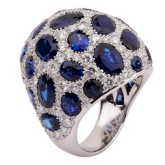 Blue Sapphire and Pave Diamond Dome Ring