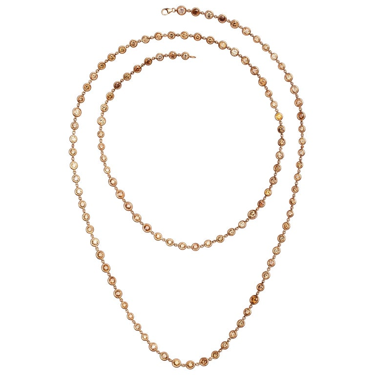 Diamonds by the Yard Multi-Color Diamond Rose Gold Necklace
