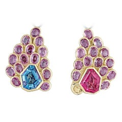 Pink Sapphire, Aquamarine and Pink Tourmaline Earrings