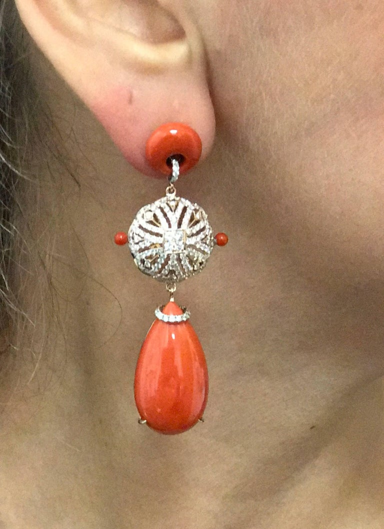 Coral and Diamond Rose Gold Earrings 2