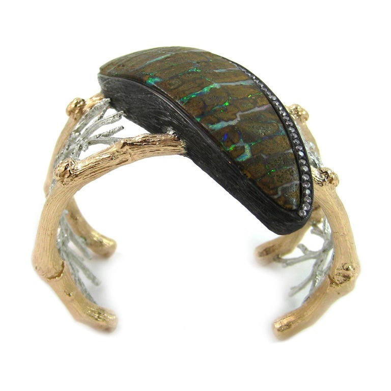 K. Brunini Jewels Zebra Opal and Natural Lavender Pink Diamond Cuff 2