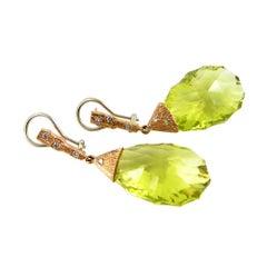 Lime Quartz Earrings in 18 Karat Yellow Gold with Diamonds