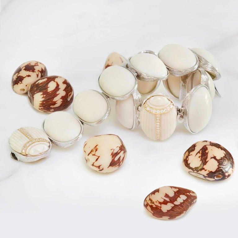 K. Brunini Jewels Taqua Nut Cabochon and Diamond Scarab Bracelet 2