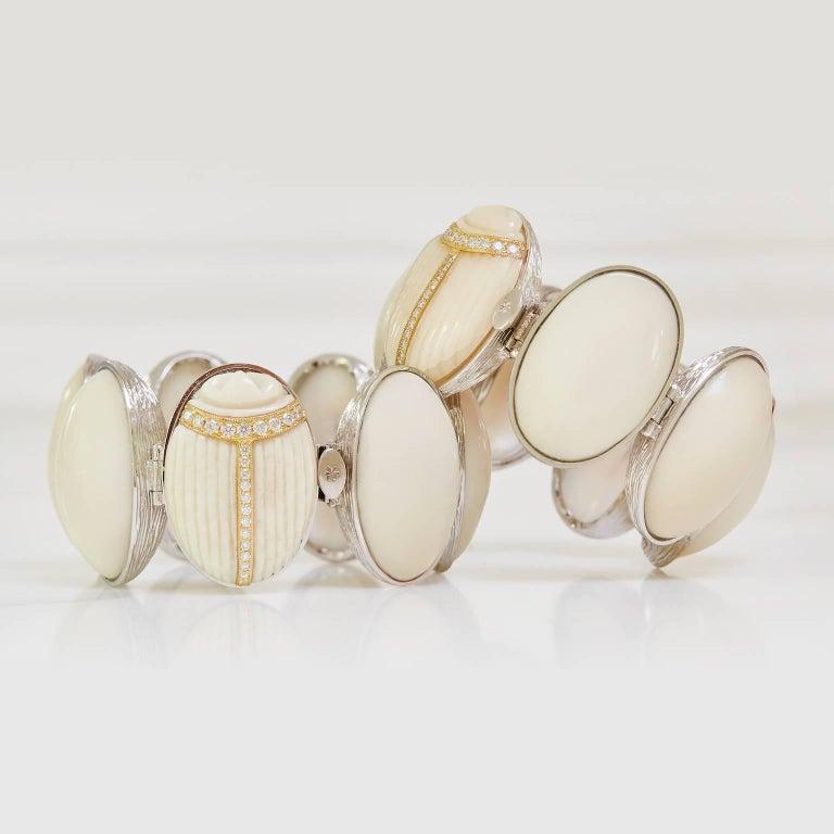 K. Brunini Jewels Taqua Nut Cabochon and Diamond Scarab Bracelet 3