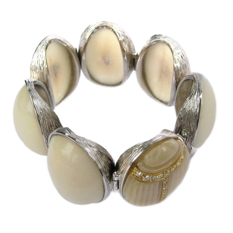 K. Brunini Jewels Taqua Nut Cabochon and Diamond Scarab Bracelet 5