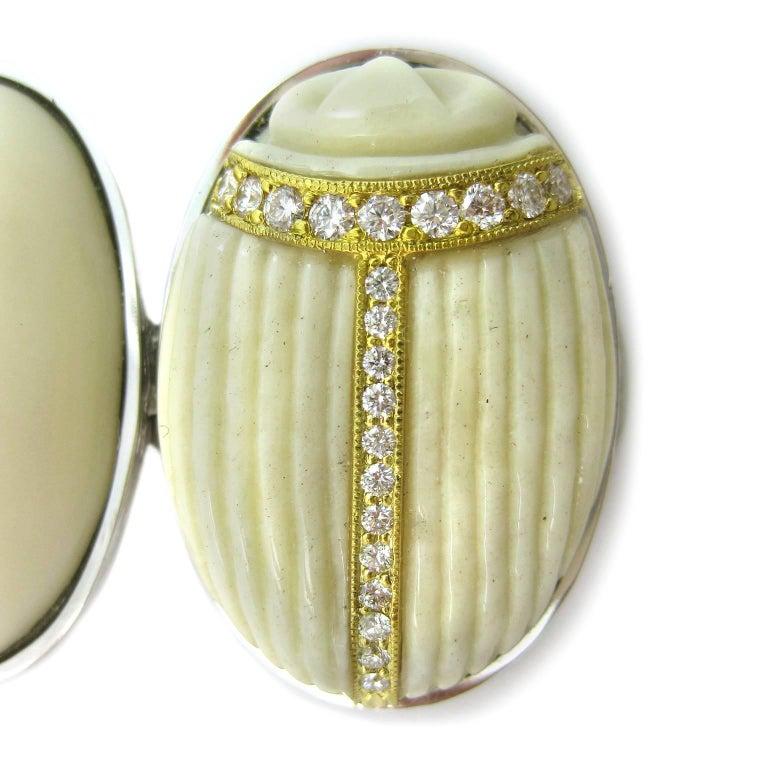 K. Brunini Jewels Taqua Nut Cabochon and Diamond Scarab Bracelet 6