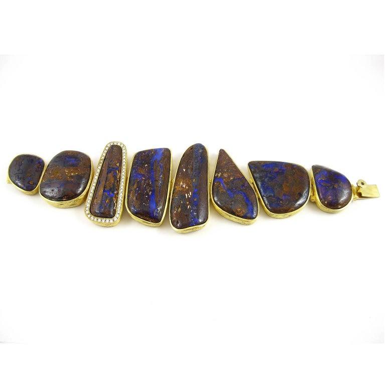 K. Brunini Jewels Magnificent Koroit Opal and Diamond Bracelet 2