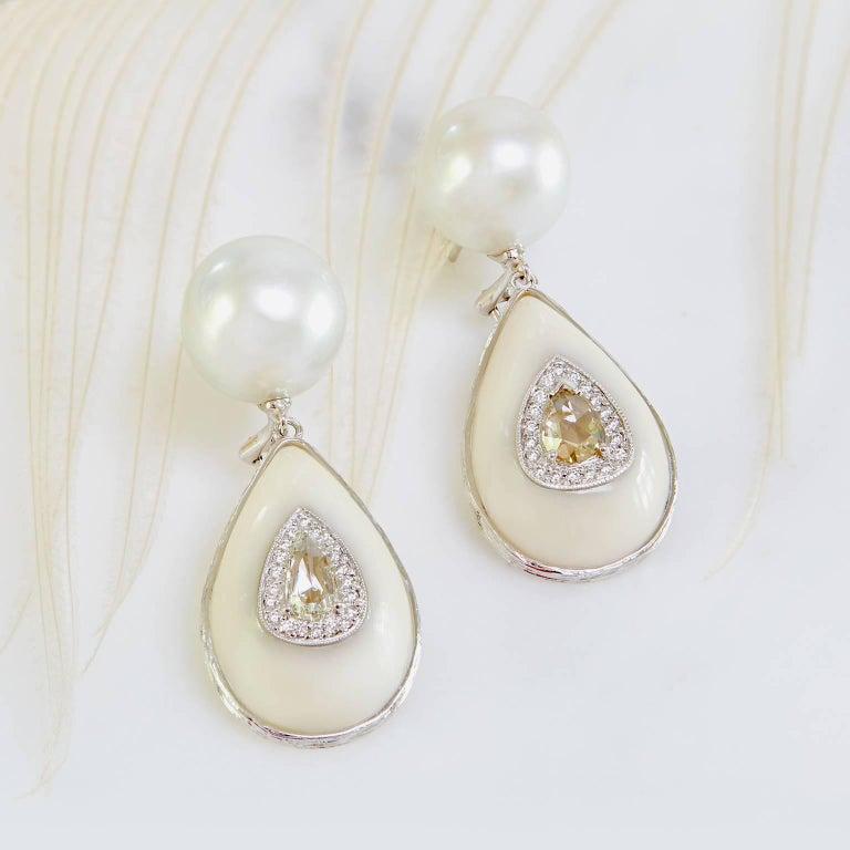 K. Brunini Jewels South Sea Pearl, Tagua Nut and Diamond Earrings 3