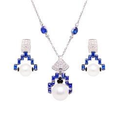 Ella Gafter Art Deco Style Diamond Sapphire Pearl Gold Necklace and Earrings Set