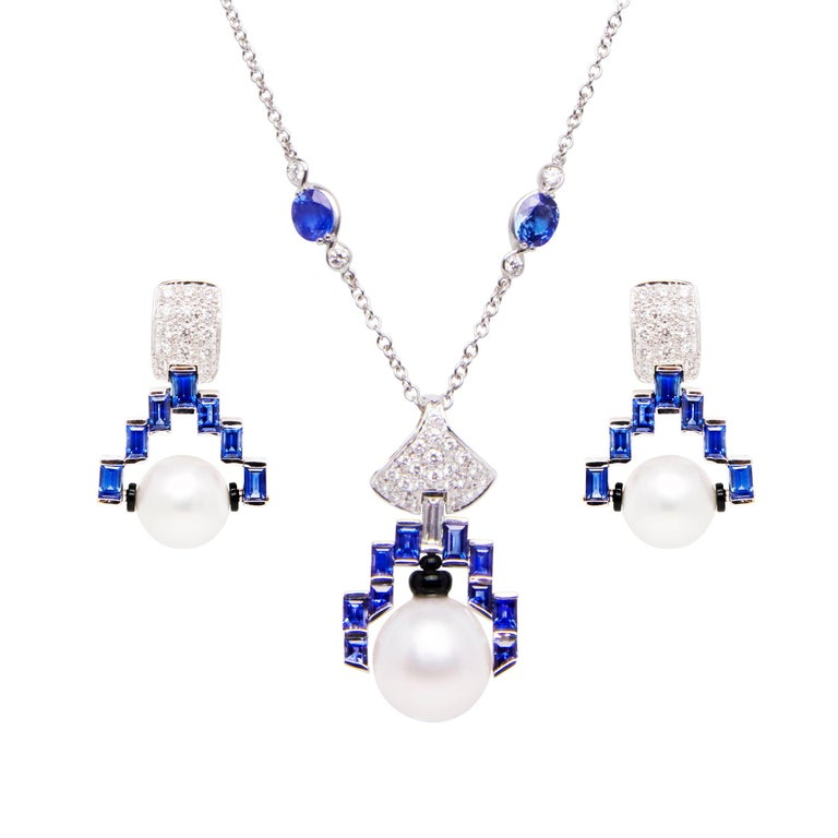 Ella Gafter Diamond Sapphire Pearl Gold Necklace and Earrings Set